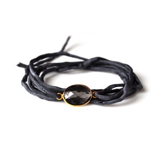 Gold Overlay Smokey Quartz on Ebony Silk Wrap Bracelet