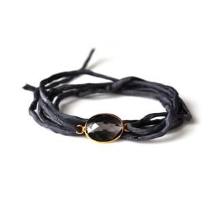 Alchemy Jewelry Handmade Ethical Gold Overlay Faceted Smoky Quartz Gemstone on Adjustable Boho Ebony Silk Wrap Bracelet