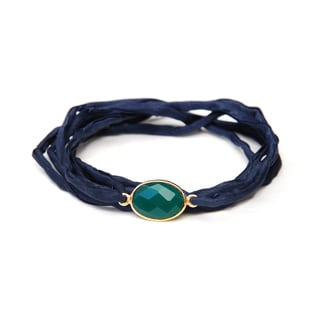 Gold Overlay Green Onyx on Indigo Silk Wrap Bracelet