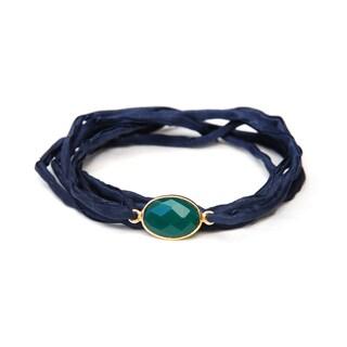 Alchemy Jewelry Handmade Ethical Gold Overlay Faceted Green Onyx Gemstone on Adjustable Boho Indigo Silk Wrap Bracelet
