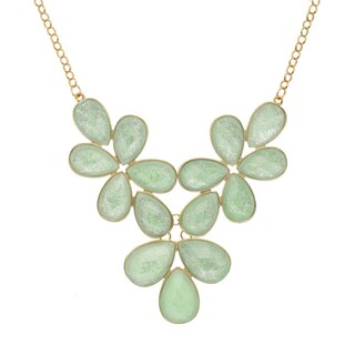 Floral Glitter Faceted Bib Necklace