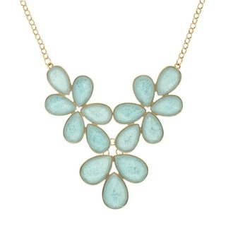 Alexa Starr Floral Glitter Faceted Bib Necklace