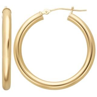 14k Yellow Gold Large Round Hoop Earrings