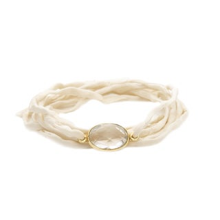 Gold Overlay Crystal Quartz on Cream Silk Wrap Bracelet
