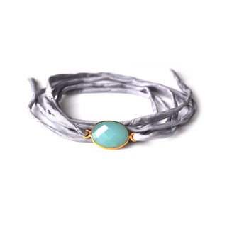 Alchemy Jewelry Handmade Ethical Gold Overlay Faceted Peru Chalcedony Gemstone on Adjustable Boho Blue-Grey Silk Wrap Bracelet