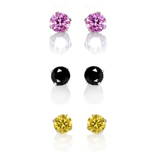 Sterling Silver Pink/ Yellow and Black 4-mm Cubic Zirconia 3-Pair Earring Stud Set
