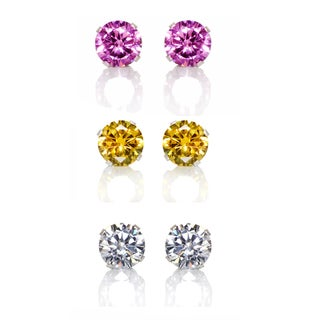 Sterling Silver Pink/ Yellow and Clear 6-mm Cubic Zirconia 3-Pair Earring Stud Set