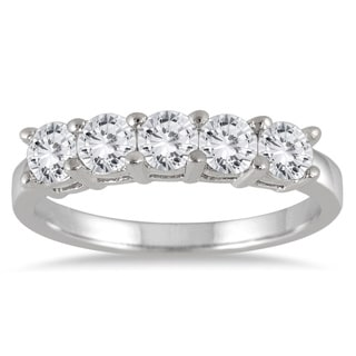 Marquee Jewels 14k White Gold 1ct TDW Diamond Five Stone Anniversary Ring (I-J, I2-I3)