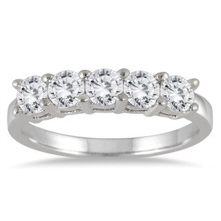 Marquee Jewels 14k White Gold 1ct TDW Diamond Five Stone Anniversary Ring
