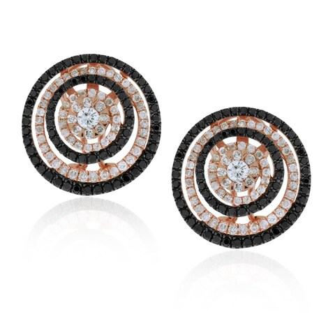 Suzy Levian 14k Rose Gold 1.90ct TDW Midnight Diamonds Circle Earrings - White G-H