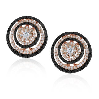 Suzy Levian 14k Rose Gold 1.90ct TDW Midnight Diamonds Circle Earrings (G-H, SI1-SI2)