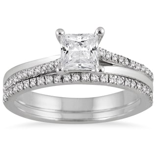 Marquee Jewels 14k White Gold 1ct TDW Diamond Bridal Set