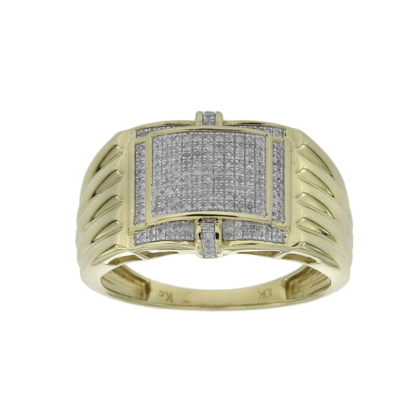 Men's 10k Yellow Gold 1/4ct TDW Diamond Ring