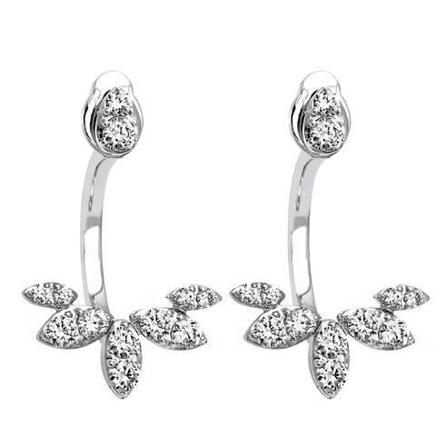 14k White Gold 2/3ct TDW Diamond Behind The Ear Floating Jacket Earrings Set - White H-I
