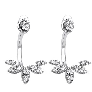 14k White Gold 2/3ct TDW Diamond Behind The Ear Floating Jacket Earrings Set