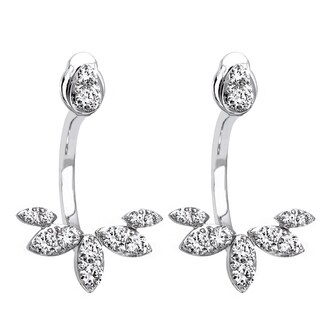 14k White Gold 2/3ct TDW Diamond Behind The Ear Floating Jacket Earrings Set - White H-I