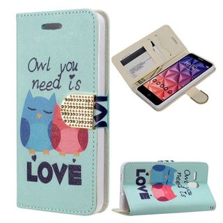 Insten Blue Owl Lovers Leather Case Cover with Stand/ Wallet Flap Pouch/ Diamond/ Photo Display For Alcatel One Touch Fierce XL