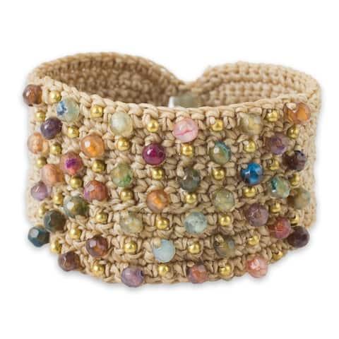 Handmade Life in Pai Brass Agate Labradorite Bracelet (Thailand)