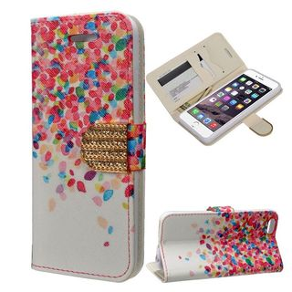 Insten Pink/ White Leaves Leather Case Cover with Stand/ Wallet Flap Pouch/ Diamond/ Photo Display For Apple iPhone 6/ 6s