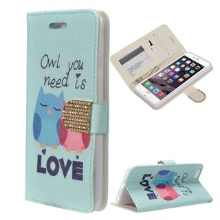Insten Blue Owl Lovers Leather Case Cover with Stand/ Wallet Flap Pouch/ Diamond/ Photo Display For Apple iPhone 6/ 6s