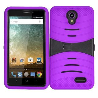 Insten Wave Symbiosis Silicone/ PC Soft Dual Layer Hybrid Rubber Case Cover with Stand For ZTE Prestige