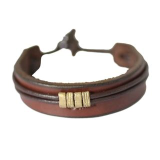 Men's Brass Leather 'Stand Together in Brown' Bracelet (Ghana)