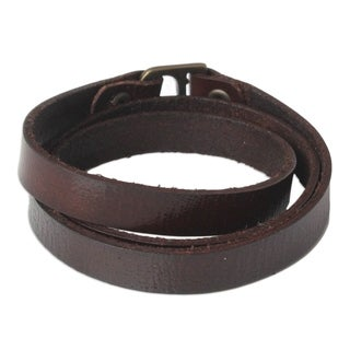 Handmade Leather 'Enigma in Brown' Bracelet (Thailand)
