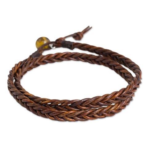 Handmade Men's Leather 'Double Cinnamon' Tiger's Eye Bracelet