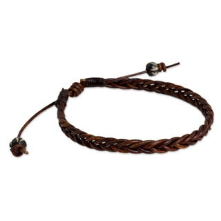 Handmade Leather 'Cinnamon Braid' Bracelet (Thailand)