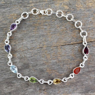 Sterling Silver 'Inner Glow' Multi-gemstone Bracelet (India)