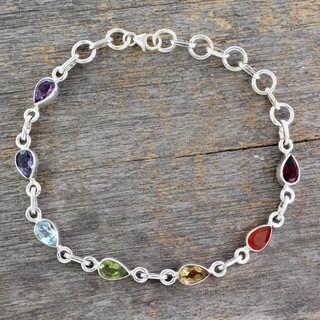 Handmade Sterling Silver 'Inner Glow' Multi-gemstone Bracelet (India)