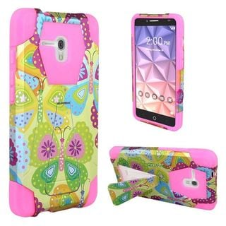 Insten Yellow/ Pink Summer Butterflies Hard PC/ Silicone Dual Layer Hybrid Case Cover with Stand For Alcatel One Touch Fierce XL