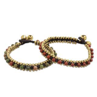 Handmade Set of 2 Brass 'Happy Times' Unakite Jasper Bracelets (Thailand)