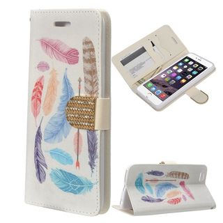 Insten White/ Blue Feather Leather Case Cover with Stand/ Wallet Pouch/ Diamond/ Photo Display For Apple iPhone 6 Plus/ 6s Plus