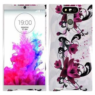 Insten Purple/ White Lily Hard Snap-on Rubberized Matte Case Cover For LG G5