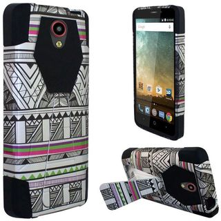 Insten Black/ White Antique Aztec Tribal Hard PC/ Silicone Dual Layer Hybrid Case Cover with Stand For ZTE Prestige