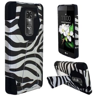 Insten White/ Black Zebra Hard PC/ Silicone Dual Layer Hybrid Case Cover with Stand For LG K7