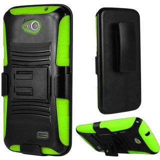 Insten Black/ Green Hard PC/ Silicone Dual Layer Hybrid Case Cover with Holster For ZTE Fanfare/Maven/Overture 2