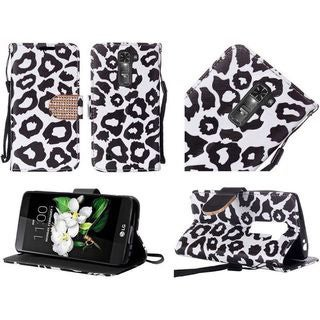 Insten Leopard Leather Case Cover Lanyard with Stand/Diamond For LG K7
