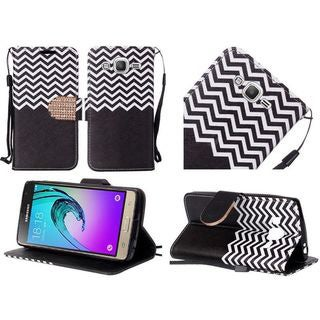 Insten Chervon Leather Case Cover Lanyard with Stand/Diamond For Samsung Galaxy J3