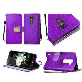 Insten Leather Glitter Case Cover Lanyard with Stand/Diamond For LG K7