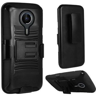 Insten Hard PC/ Silicone Dual Layer Hybrid Case Cover with Holster For ZTE Uhura