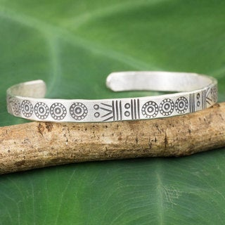 Handcrafted Silver 'Ancestral Symbols' Bracelet (Thailand)