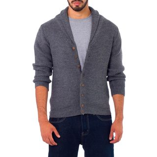 Men's Alpaca Blend 'Jirishanca in Gray' Cardigan (Peru)