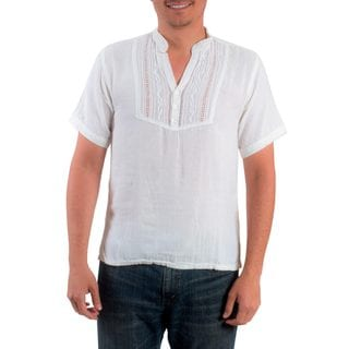 Handcrafted Men's Cotton 'Soyapango Style' Tunic (El Salvador)