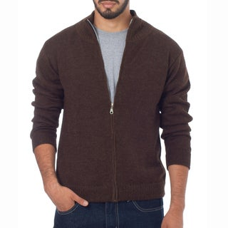 Handmade Men's Alpaca 'Modern Brown' Cardigan (Peru)