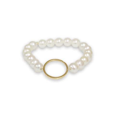 Pearlyta 14k Gold Circle Shape Freshwater Pearl Bracelet (7-8mm) - White
