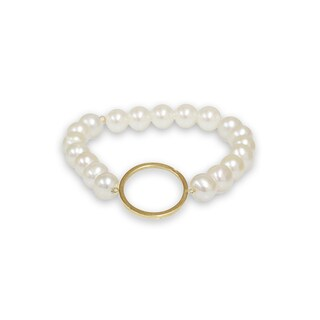 Pearlyta 14k Gold Circle Shape Freshwater Pearl Bracelet (7-8mm) - White