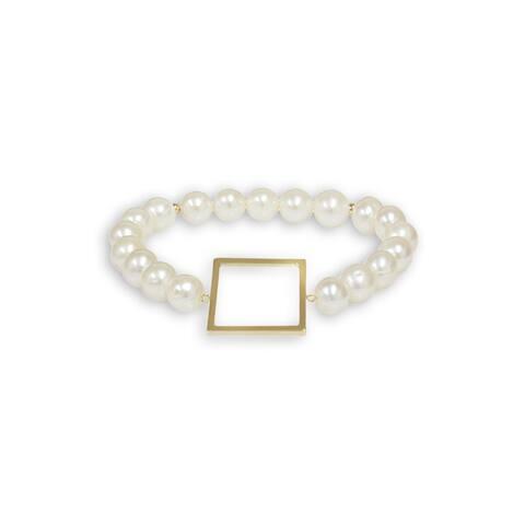 Pearlyta 14k Yellow Gold Square Shape Freshwater Pearl Bracelet (7-8mm) - White