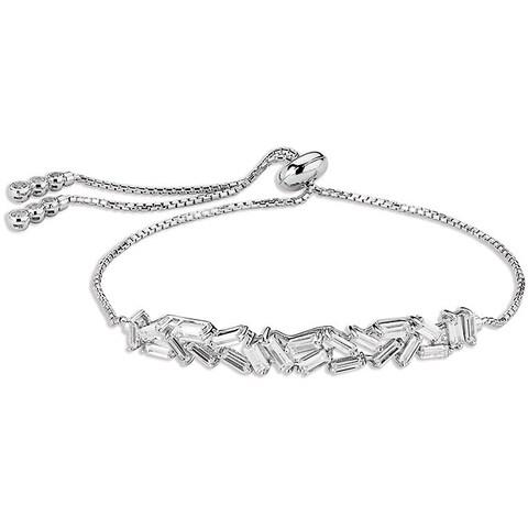 Sterling Silverplated Cubic Zirconia Adjustable Bracelet